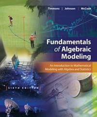 Fundamentals of Algebraic Modeling   Timmons, Daniel L.; Johnson, Catherine W.; Mccook, Sonya  