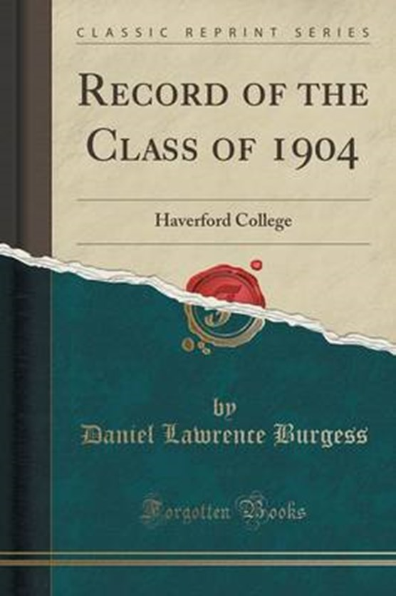 Burgess, D: Record of the Class of 1904