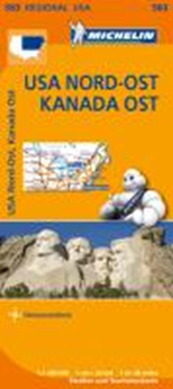 Michelin Regionalkarte USA Nordost, Kanada Ost 1 : 2 400 000