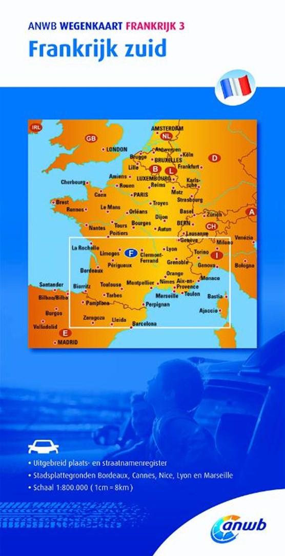 ANWB wegenkaart Frankrijk 3. Frankrijk zuid