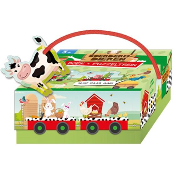 Boerderijdieren- boek + puzzeltrein